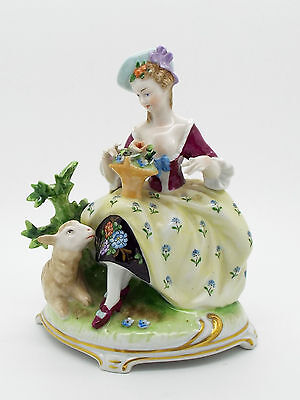 Collectable German China Figure of an 18thc Lady, Flowers & Sheep