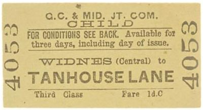 G.C.& Mid Joint Railway Ticket Widnes (Central) to Tanhouse Lane