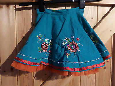 Gorgeous Girls Party Skirt Turquoise & Orange Embroidered & Sequined Age 2-3 yrs