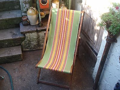 Original Vintage Deck Chair With Candy Stripe Fabric Garden,