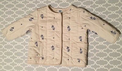 EUC OLD NAVY Girls Cream Floral Print Quilted Button up Jacket Size 3-6 Months