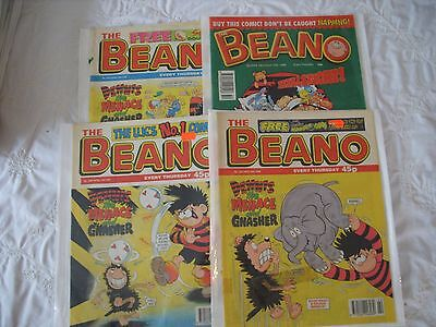 Beano Comics Job Lot Of 4 From 1998 In Plastic Sleeves