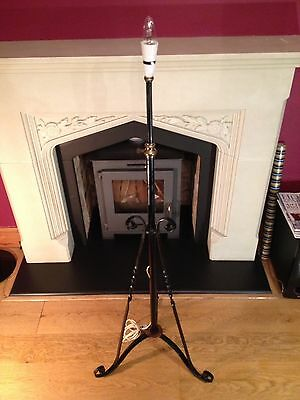 Antique Arts And Crafts Wrought Iron Oil Lamp Stand Victorian Style.