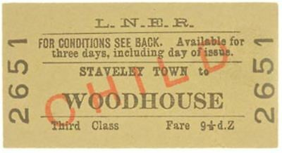 LNER Ticket Staveley Town to Woodhouse