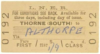 LNER Ticket Thorne (South) to Althorpe