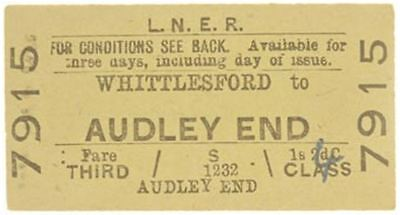 LNER Ticket Whittlesford to Audley End