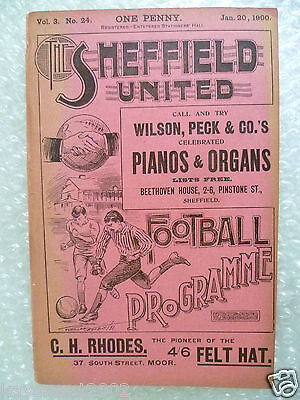 1900 Wharncliffe Cup SHEFFIELD UNITED Res. v WORKSOP, 20 Jan (Org* very RARE)
