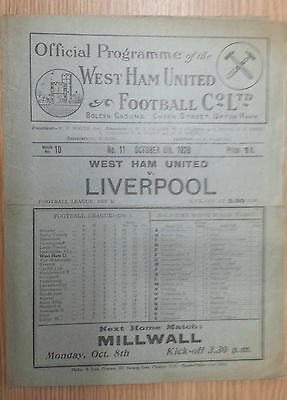 1928/29  WEST HAM UNITED v LIVERPOOL