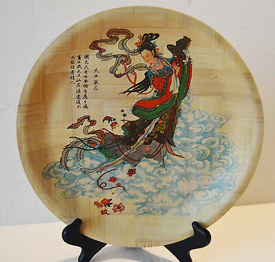 """Lot 32 Vintage Asian Chinese Bamboo Decor Painted Plates 11"""" & 6"""" Great Gifts!"""