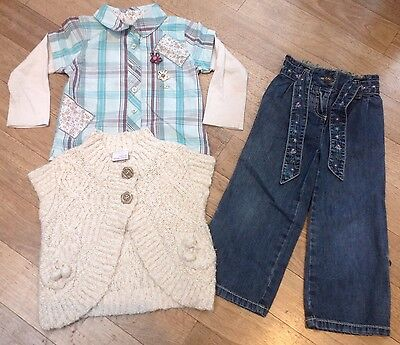 Next Girls Bundle. Checked Shirt, Jeans & Woollen Bodywarmer Outfit. 2-3 Years.