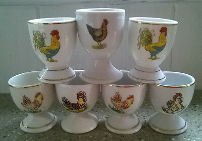 7 x Footed Vintage Egg Cups with Chicken Hen Designs