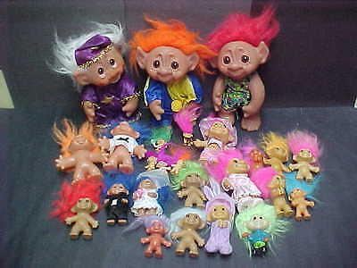 Vintage TROLLS Old Toy Doll HUGE lot Troll Collection 24 Clown, Wizard, Wedding