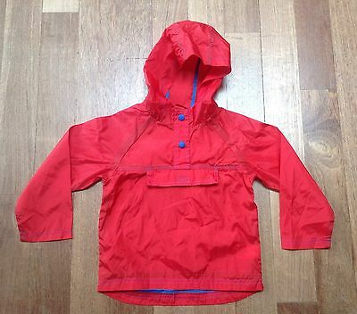 M&S Girls Or Boys Red Hooded Kagool. Size 3-4 Years.