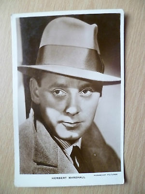 Film Star Real Photo Postcard- HERBERT MARSHALL, Paramount Pictures