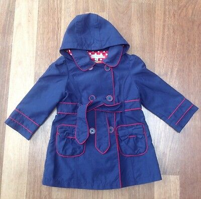 Autograph Girls Blue Hooded Trench Coat/ Mac. Size 1 1/2 To 2 Years.