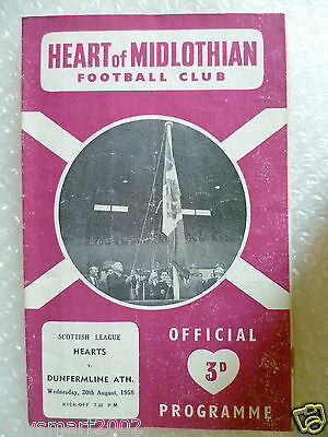 1958 HEART OF MIDLOTHIAN v DUNFERMLINE ATH., 20th Aug (Scottish League)