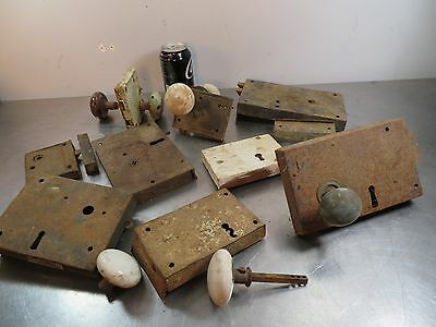 Lot of 9 Antique Vintage Mortise Rim Box Locks with Assorted Door Knobs Hardware