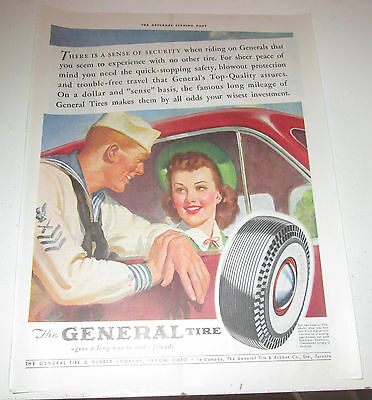 1941 original ad General Tire Handsome Sailor Talking to Pretty Lady