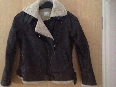 Next Girls Brown Leather Jacket Age 11-12