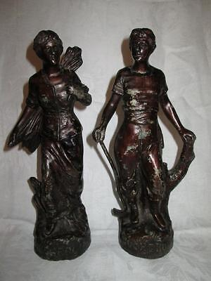 Vintage Pair of French Bucheronne Spelter Figures of Stick Gatherers