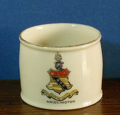 A crested China Napkin Ring with the crest of Bridlington