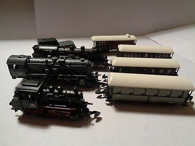 3 Marklin Z-Scale Locos & 4 Passenger Cars With Tender! Mixed Lot! VG Condition!