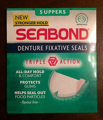Seabond Denture Fixative Seals Original 5 Uppers Perfect Travel Or Bag Pack