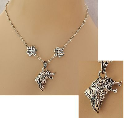 Silver Celtic Wolf Pendant Necklace Jewelry Handmade NEW Adjustable Chain
