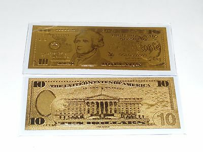$10 Gold Banknote Us 999 Pure 24 K Gold Leaf Ten  Dollar Bill