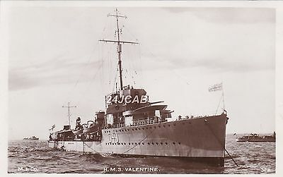 """Royal Navy Real Photo. HMS """"Valentine"""" V and W-class destroyer. Rare! c 1930s"""