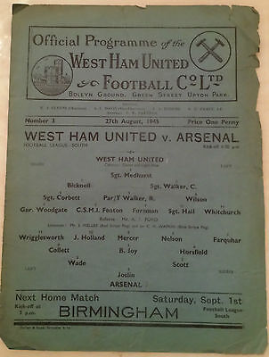 1945 Football League South WEST HAM UNITED v ARSENAL
