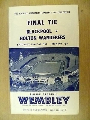 1953 FA Cup FINAL Official Programme-  BLACKPOOL v. BOLTON WANDERERS (Org*, Exc)