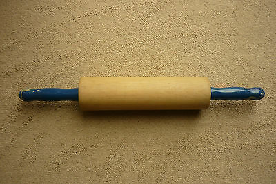 """16"""" VINTAGE/RETRO Wooden Baking ROLLING PIN With Blue Painted Rotating Handles"""