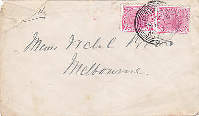 NEW ZEALAND : 2 x QV PENNY REDS ON CHRISTCHURCH TO MELBOURNE COVER (1895)