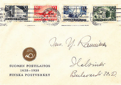 Finland : Tercentenary Of Finnish Postal Service First Day Cover (1938)