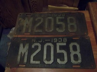 New Jersey 1938 License Plates