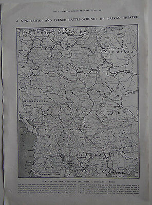 Old print 1915 Map of the Balkan Theatre  Campaign World War 1 WW1 War
