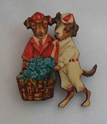 Vintage Style Dogs & Flowers Brooch or Scarf Pin Wood Accessories Fashion NEW