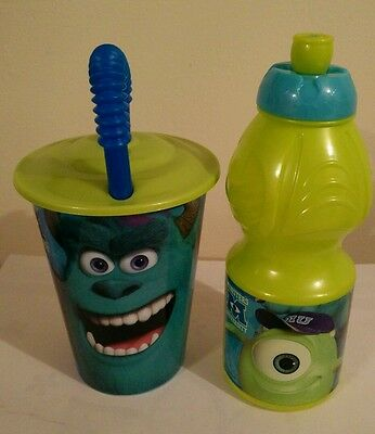 Set Of Two Disney Monsters University Tumbler And Sports Bottle Set New