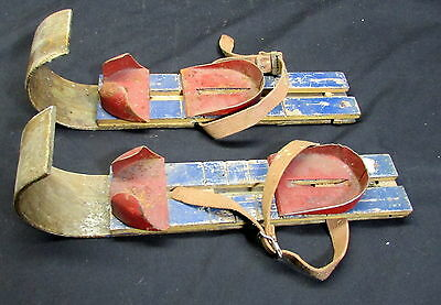 Pair Of Very Old Young Child's Wooden Skis - Very Different