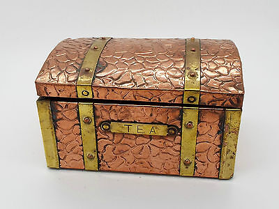 Collectable Vintage Copper & Brass Banded Tea Caddy Chest