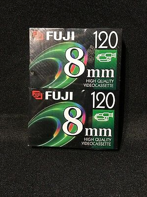 FujiFilm 8mm P6-120 Camcorder Video Tapes 2 Pack Sealed NEW -FREE SHIPPING-