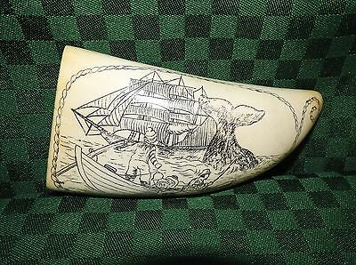 Scrimshaw Whale Tooth Artek Reproduction Whaling Catch Scene