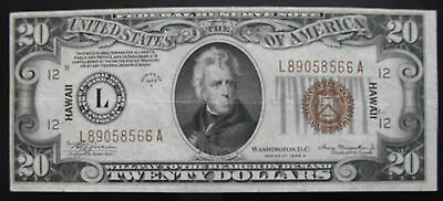 $20 Series 1934A Federal Reserve Note / Hawaii / Brown Seal / High Grade