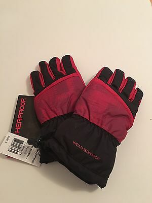 Boy's Weatherproof Gloves ,New with Tags,black And Red, Size 8-20