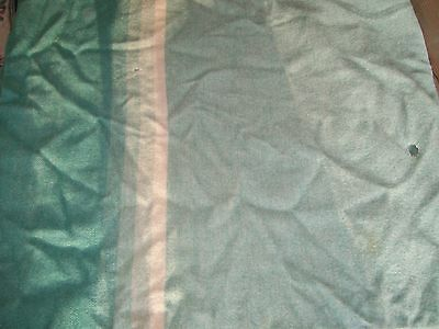 Antique Vintage Pure Wool Blanket Greens 80 X 80 Large As Is Spread Cottage Camp