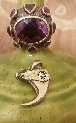 David Yurman Bobcat Claw Pendant & 925 Cable Amethyst Halo Ring Size 6.5 Signed