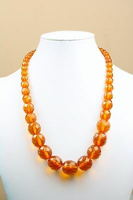 """Vintage 59g Graduated Faceted Amber Bead Necklace Hidden Clasp 22"""""""
