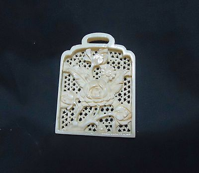 Old Antique Japanese Finely Carved Floral Cut-Out Pendant
