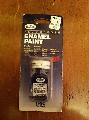 Vintage 1983 Testors All Purpose Enamel Paint 1149C  Unopened FLAT BLACK Model